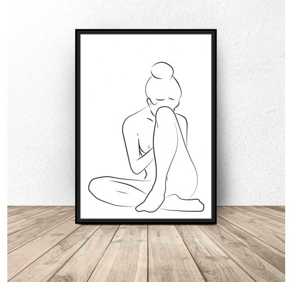 Plakat z siedzącą kobietą zakrywającą twarz kolanem ugiętej nogi