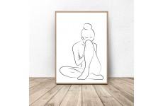Grafika na ścianę ze szkicem siedzącej kobiety