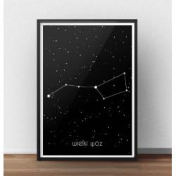 Plakat z gwiazdami Wielki Wóz fragmentem gwiazdozbioru Wielkiej Niedźwiedzicy
