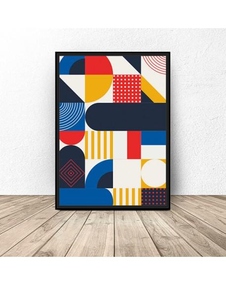 Plakat z geometryczną mozaiką