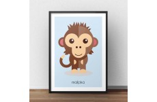 Pastelowy plakat dla dzieci przedstawiający brązową małpkę