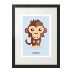 Poster z wizerunkiem kolorowej małpki do pokoju dziecka