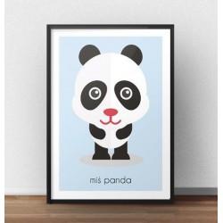 Pastelowy poster dla dzieci z wizerunkiem małego misia panda