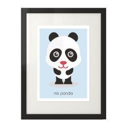 Kolorowy plakat dla dzieci w pastelowych kolorach z misiem pandą