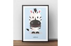 Pastelowy plakat dla dzieci z wizerunkiem uroczej zebry