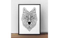 Plakat do zawieszenia na ścianie z wizerunkiem wilka namalowanego w stylu etno.