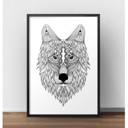 Plakat z etnicznym wilkiem