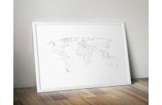Plakat z mapą świata z zaznaczonymi państwami bez czarnego wypełnienia
