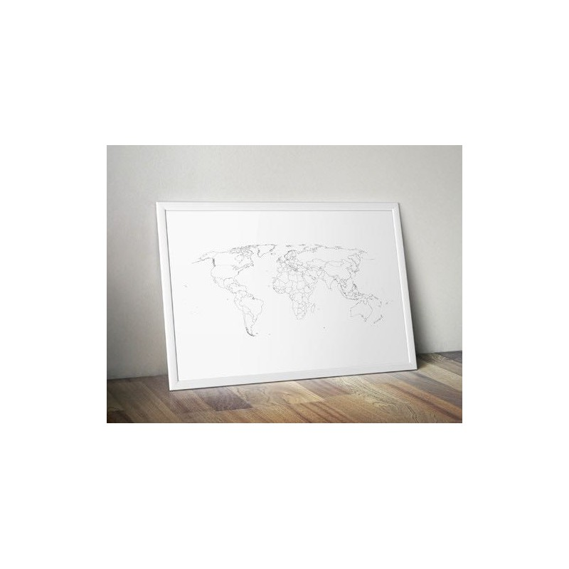 Poster World Map outlines of states
