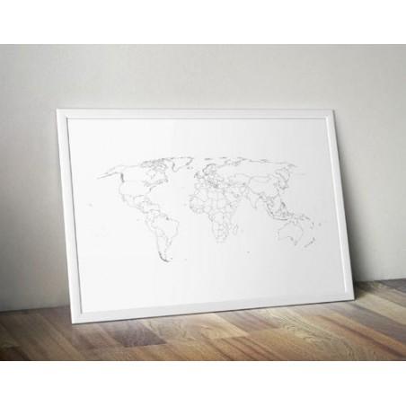 "Plakat ""Mapa świata"" kontury państw"