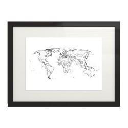 """Plakat """"Mapa świata"""" z kształtami krajów świata"""