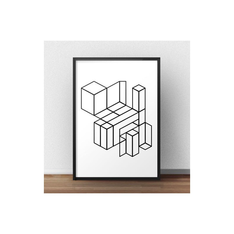 Plakat geometryczny Klocki