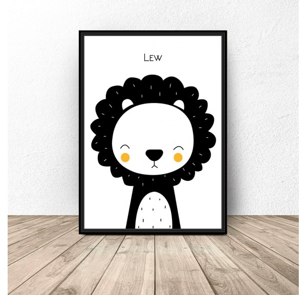 Plakat dla dzieci Lew - rozm. 50x70
