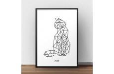 """Plakat z geometrycznym kotem """"Cat"""""""