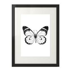 Czarno-biała grafika przedstawiająca motyla
