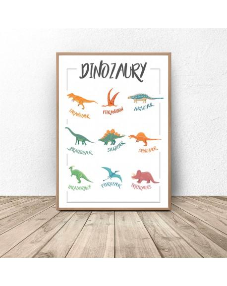 """Plakat dla dzieci """"Dinozaury"""""""