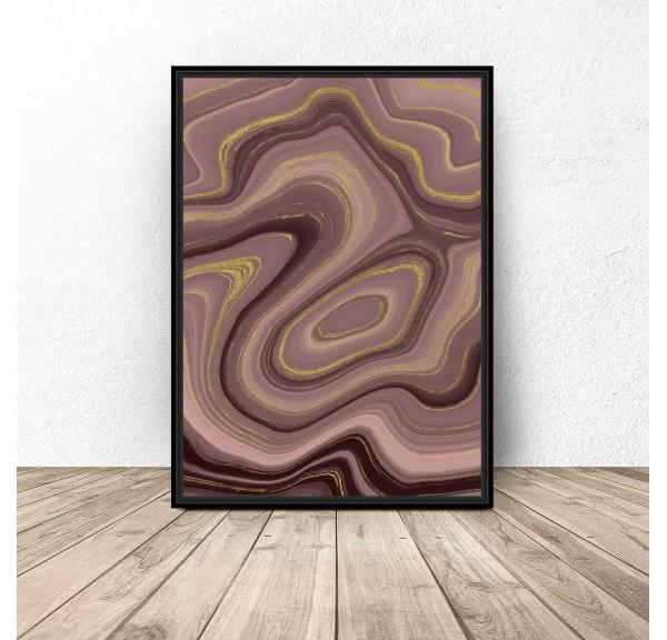 Plakat art deco Różowa abstrakcja