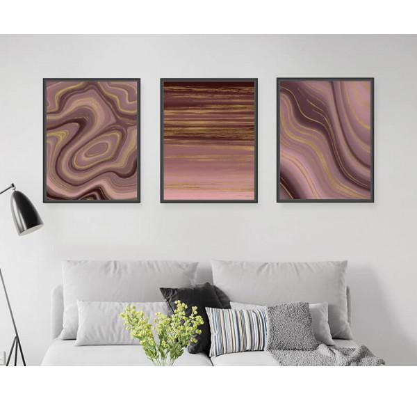 Set of three posters Pink Art deco