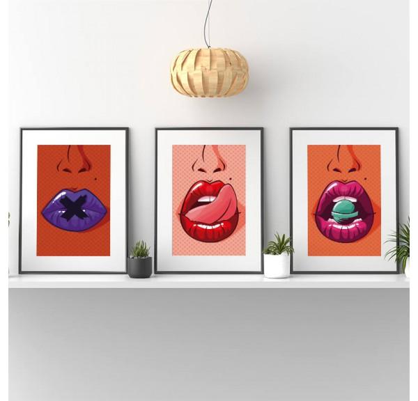 Zestaw trzech plakatów pop-art Usta