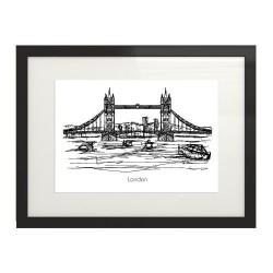 Plakat z miastem Londyn i mostem londyńskim w pozycji poziomej