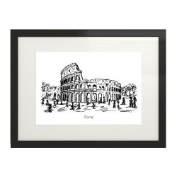 Czarno-biała grafika sprawiająca wrażenie szkicu cienkopisem przedstawiająca Koloseum w Rzymie