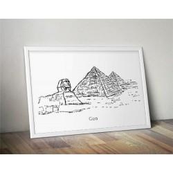 Plakat z piramidami egipskimi i sfinksem w Gizie