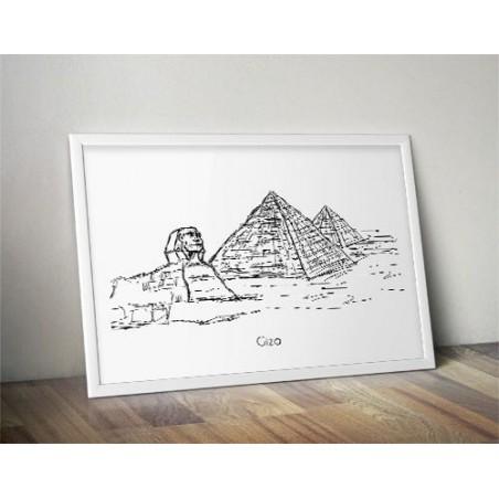 Plakat z piramidami egipskimi i sfinksem