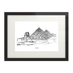 Czarno-biała grafika wyglądająca na szkic cienkopisem z piramidami egipskimi i sfinksem w Gizie