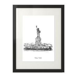 Czarno-biała grafika ala szkic cienkopisem ze Statuą Wolności w Nowym Jorku