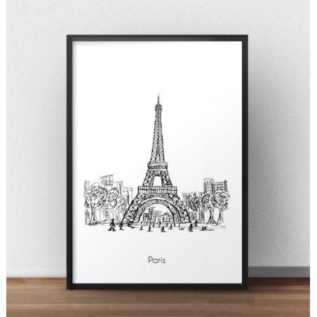 Plakat z Wieżą Eiffla w Paryżu
