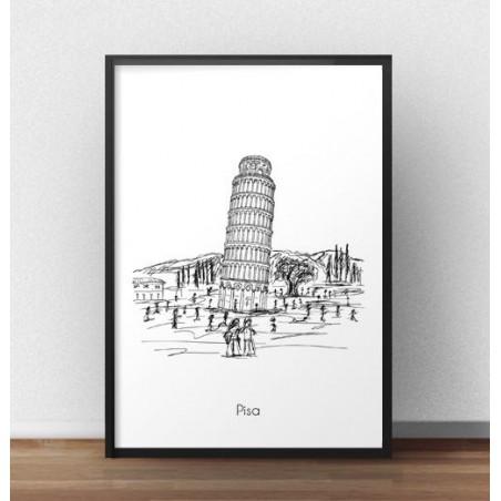 Plakat z Krzywą Wieżą w Pizie