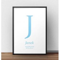 Plakat metryczka dla dziecka w kolorze baby blue