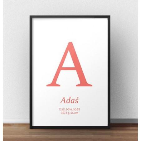 Plakat metryczka dla dziecka - Duża literka