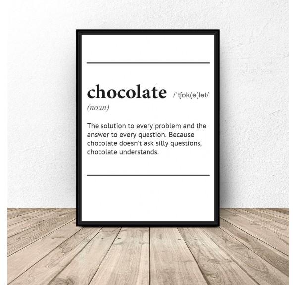 Plakat z napisem definicji słowa Chocolate