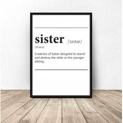 """Plakat z napisem definicji słowa """"Sister"""""""