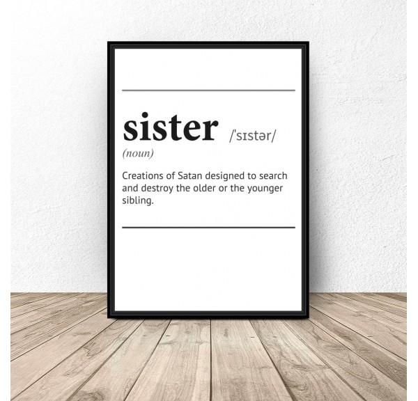 Plakat z napisem definicji słowa Sister