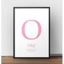 Plakat metryczka urodzinowa dla dziecka w kolorze różowym