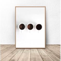 """Plakat na ścianę """"Trzy filiżanki kawy"""""""