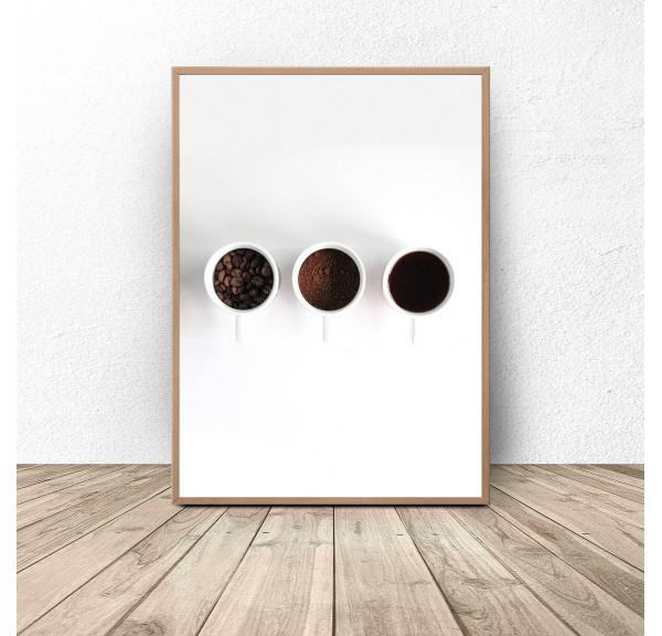 Plakat na ścianę Trzy filiżanki kawy
