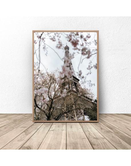 """Plakat na ścianę """"Wieża Eiffla w kwiatach"""""""