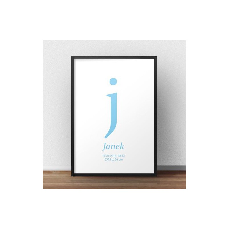 Plakat metryczka dla dziecka - Mała literka - kolor błękitny