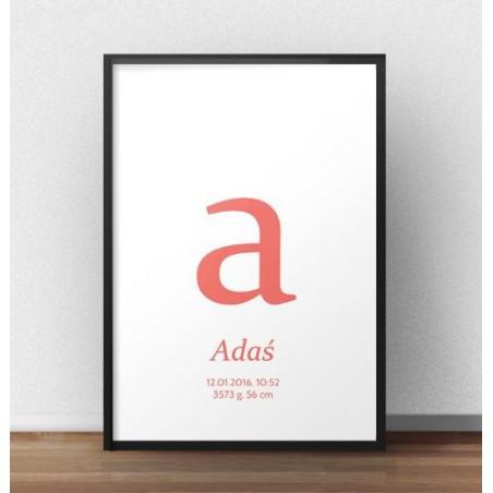 Plakat metryczka dla dziecka - Mała literka