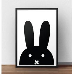 Skandynawski plakat z czarnym królikiem