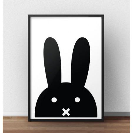 Skandynawski plakat z czarnym królikiem 50x70 wyprzedaż
