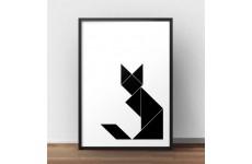 Skandynawski plakat z geometrycznym, czarnym kotem