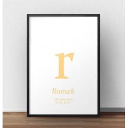 Plakat metryczka dla dziecka - Mała literka - kolor jasnopomarańczowy