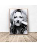 Plakat Kate Moss z wąsami 61x91 wyprzedaż