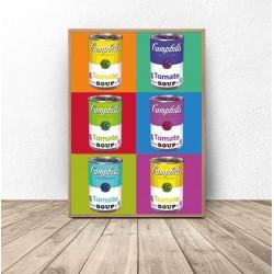"Plakat pop-art ""Kolorowe puszki"" Warhol"