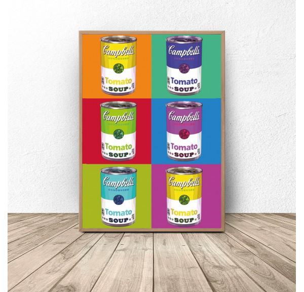 Plakat pop-art Kolorowe puszki Warhol