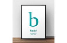 Plakat metryczka dla dziecka - Mała literka - kolor turkusowy